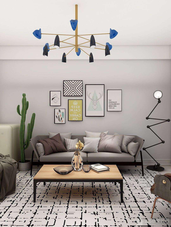 现代家装客厅背景墙装饰画图片