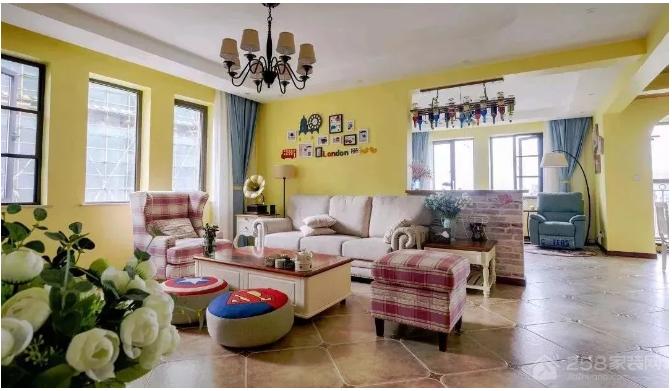 142㎡活力地中海,橙黄色的暖系空间,温馨治愈!