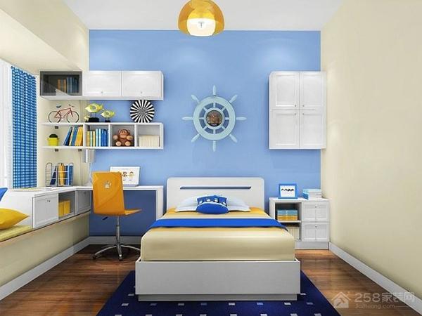 蓝白儿童房