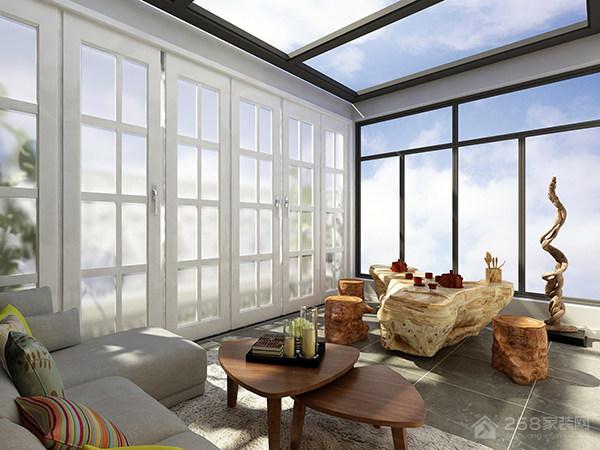 137㎡现代简约风格装修,阳台作为茶室非常新颖