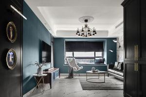 125㎡现代简约风格,墨绿色墙面很高级