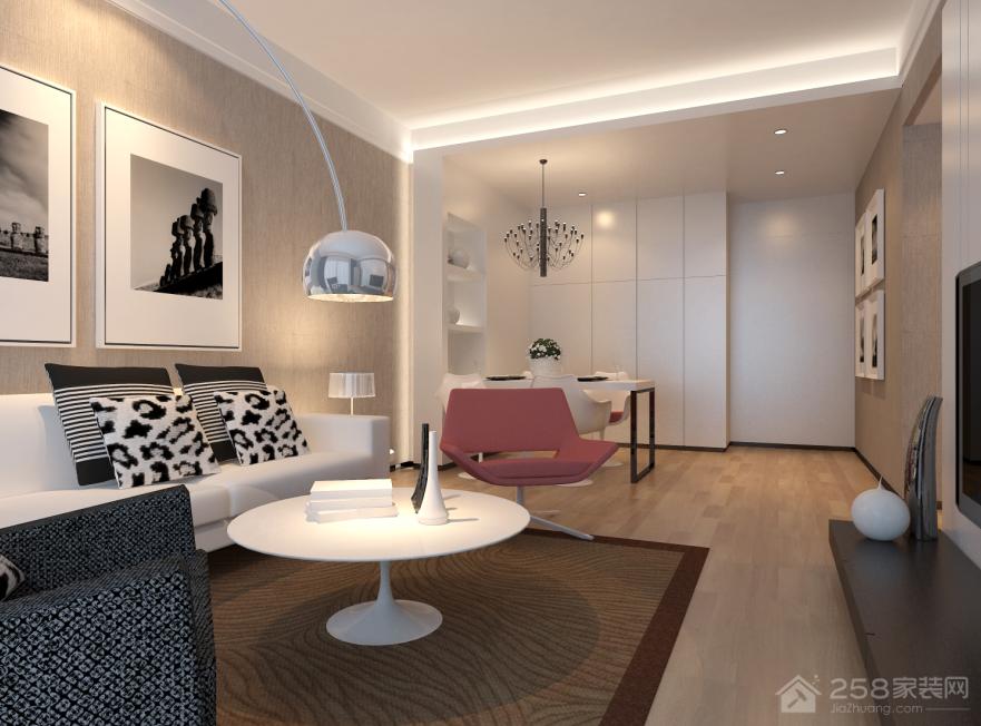 客厅白色简约圆形茶几设计效果图
