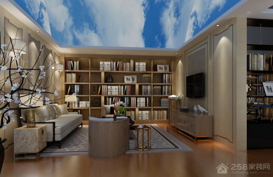 简约小户型整体书柜设计效果图