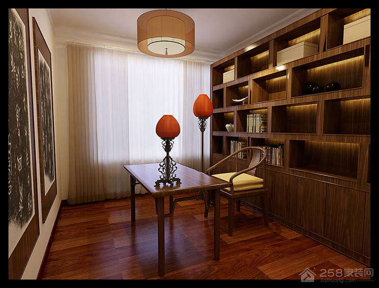 中式装修书房整体书柜效果图