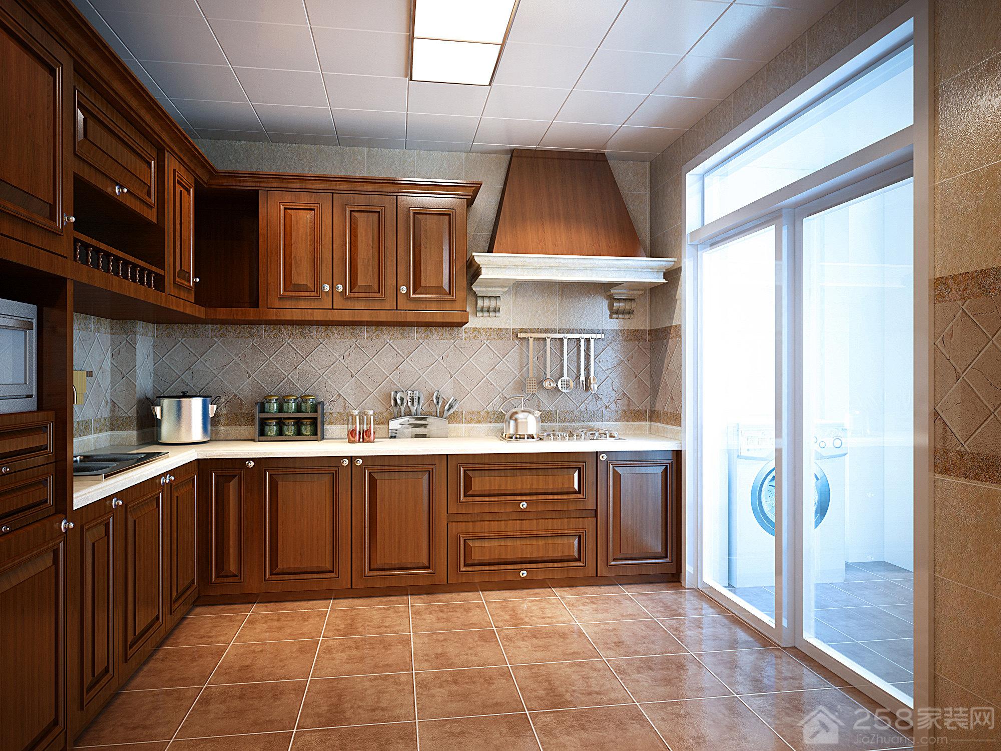 美式别墅厨房实木橱柜效果图展示