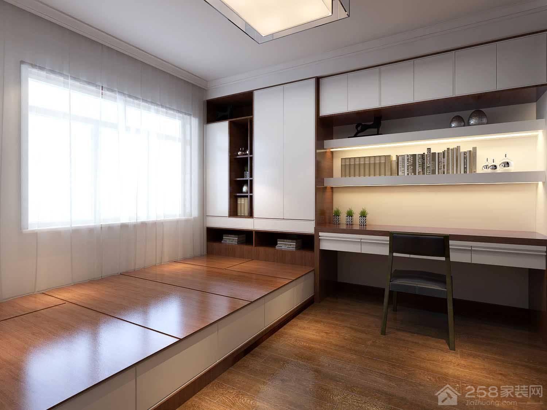 中式家居书桌书柜组合设计图
