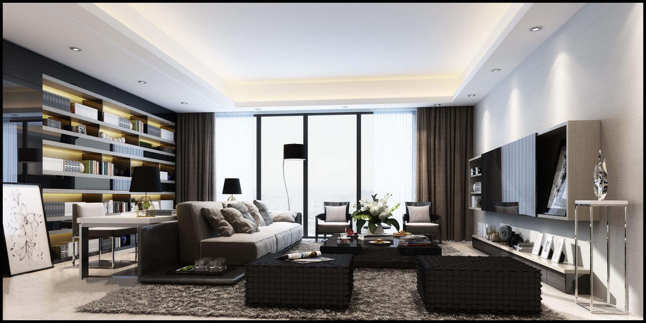 优派立方现代简约三居室装修效果图