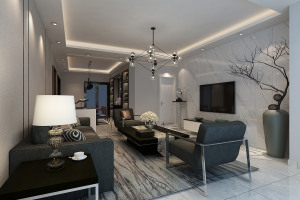 兴汇城现代简约三居室装修效果图