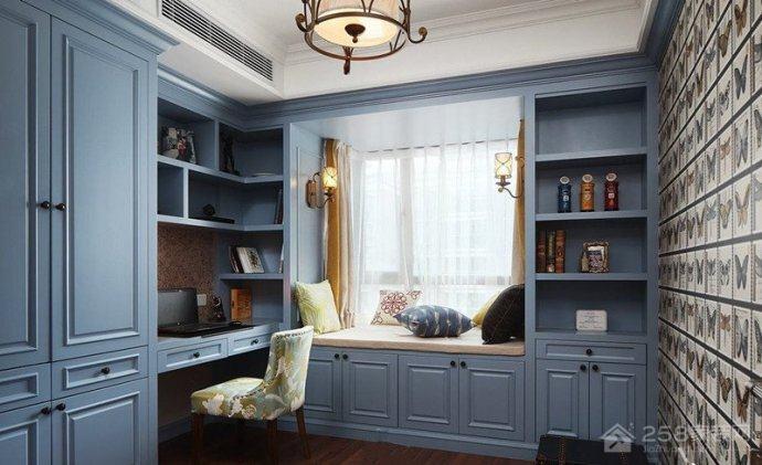 美式装修书桌书柜组合设计效果图