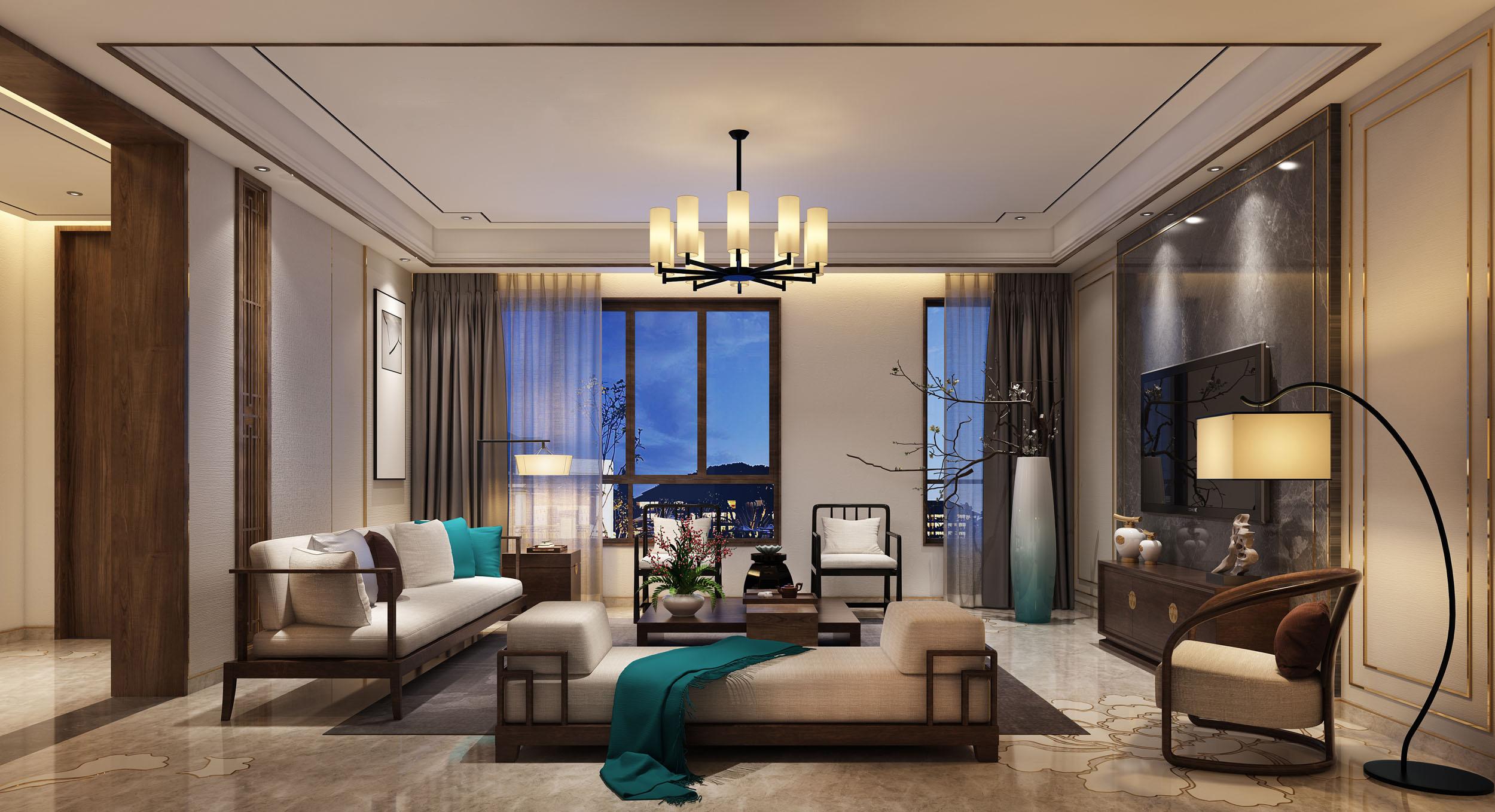 龙湖时代天街中式三居室装修效果图