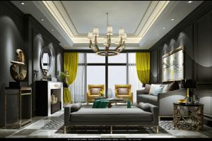中国青城欧式三居室装修效果图