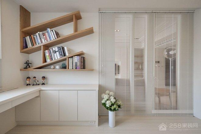 日式书房白色简约转角书桌效果图