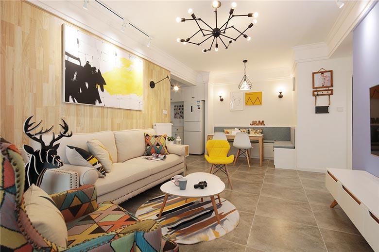89㎡北欧风格两居室装修效果图