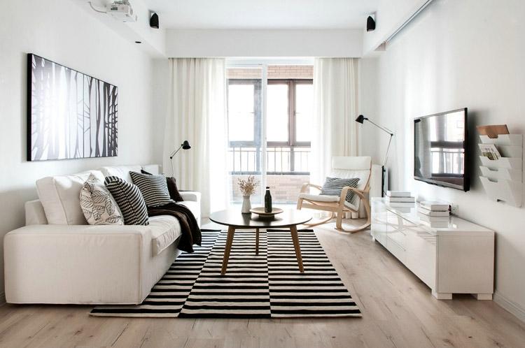 90㎡白色素净北欧风三居室效果图