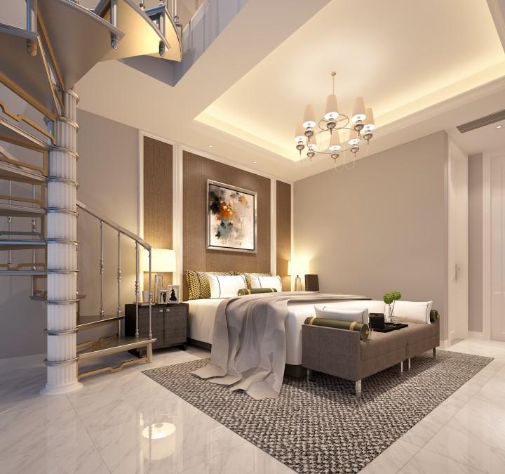 江畔家人三居室现代简约效果图