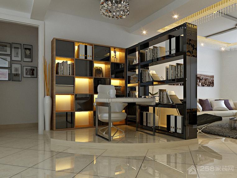客厅时尚简约转角书柜设计图展示