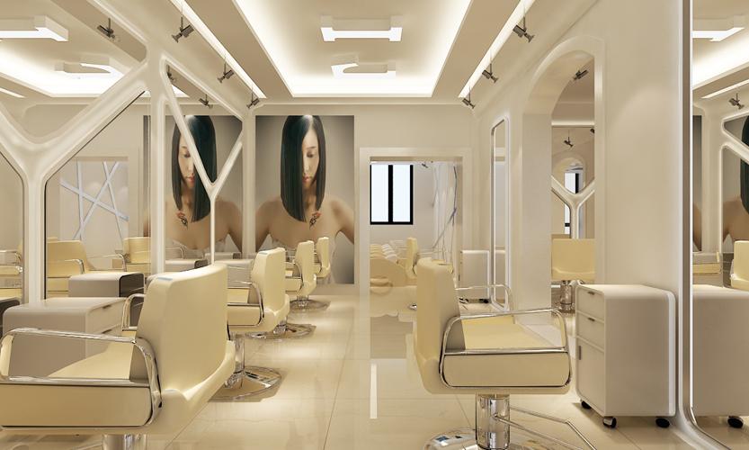 现代风格理发店现代简约风格三居效果图