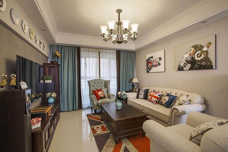 海创家园美式风格三居家装效果图