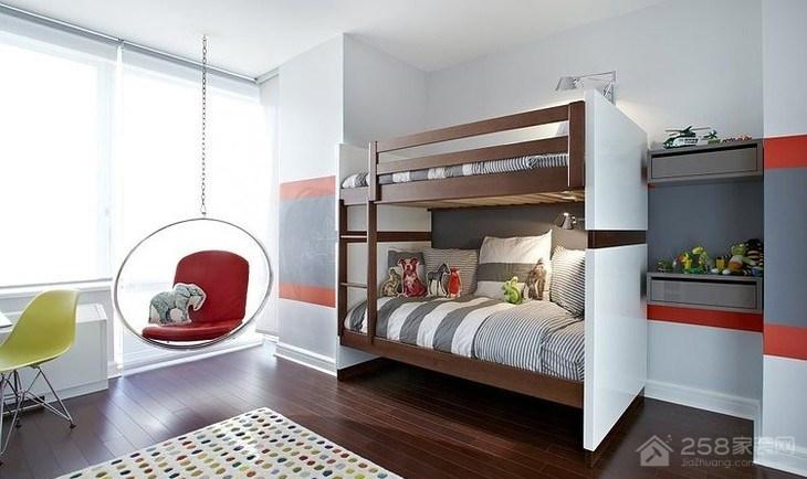 美式风格儿童高低床家装效果图