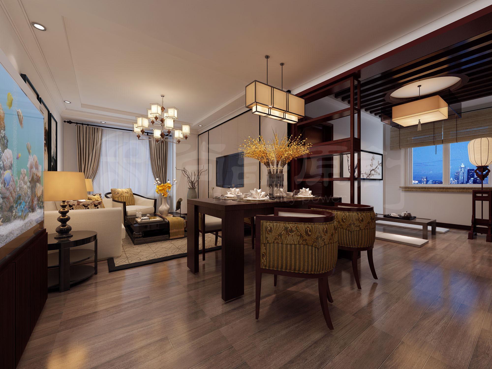 青秀蓝湾92㎡ 中式风格二居装修效果图