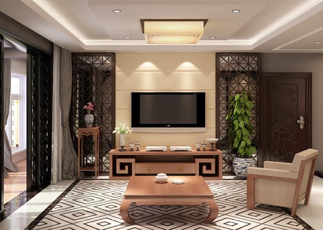 海鑫花园中式风格三居装修效果图