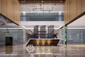 上海中心办公区现代简约风格复式装修效果图