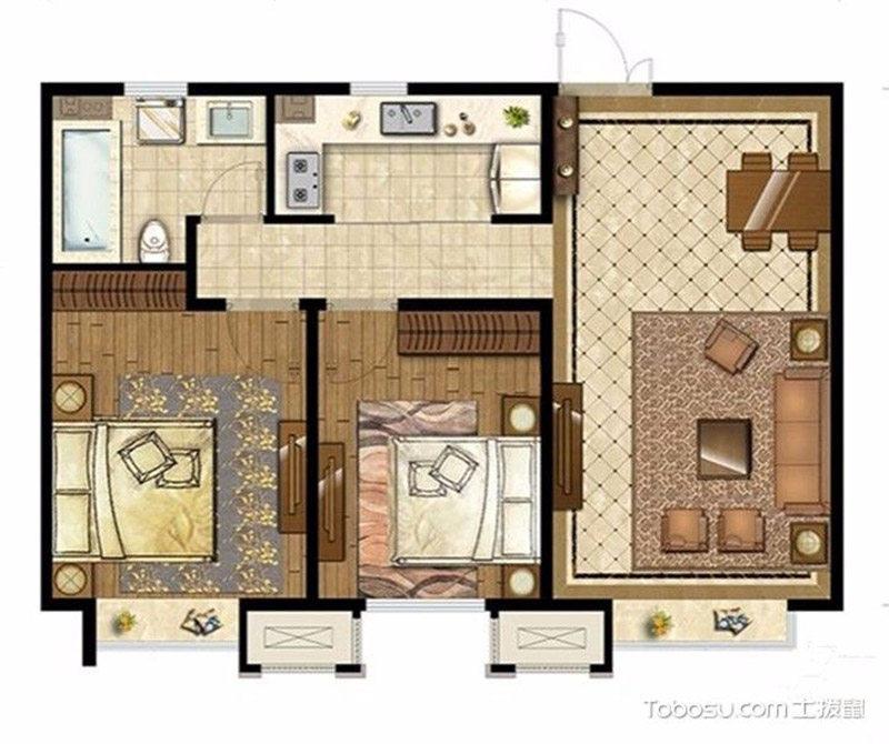 天房天拖中式风格二居装修效果图