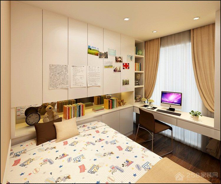 简约儿童房转角书桌设计效果图