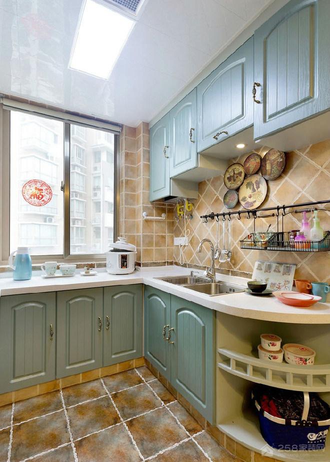 地中海风厨房白色大理石台面效果图