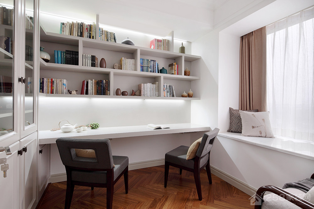 白色现代简约书桌书柜一体化设计图