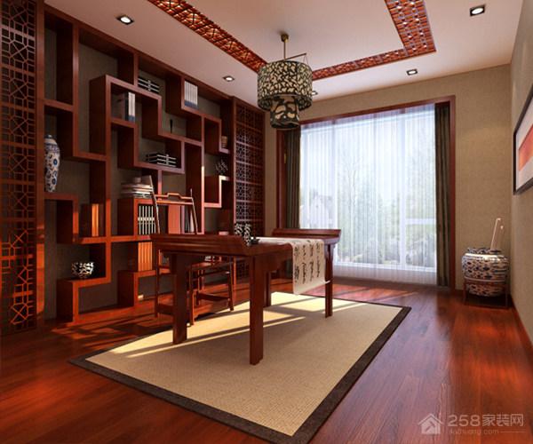 中式书房古色古香整体书柜展示图