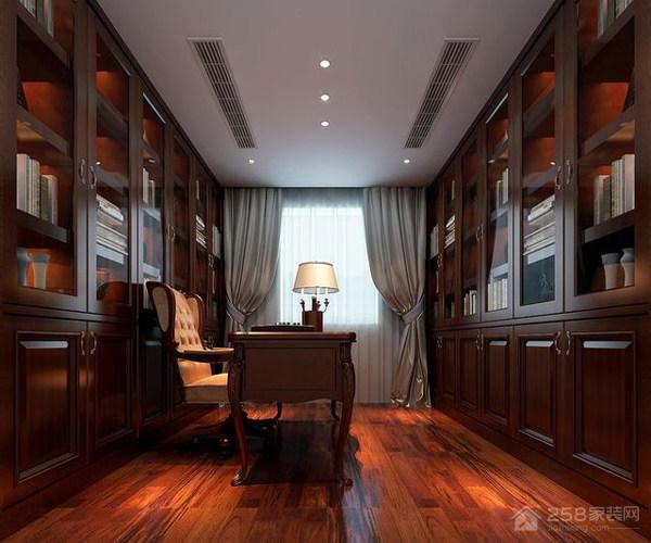美式风格书房整体书柜设计图欣赏