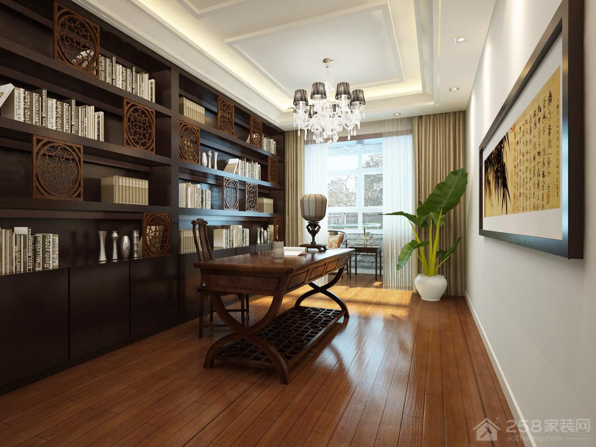 二居室书房古典风格整体书柜效果图