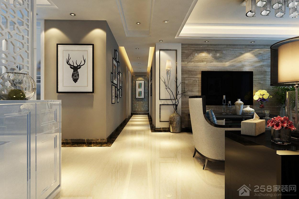 华山珑城现代简约风格二居装修效果图