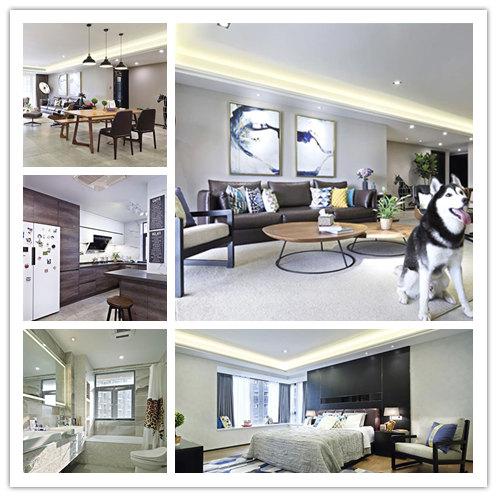 保利时代现代简约风格三居装修效果图