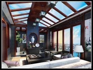 中铁生态城中式风格三居装修效果图