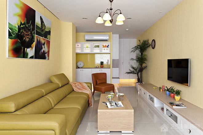 美式客厅方形原木色茶几装修效果图