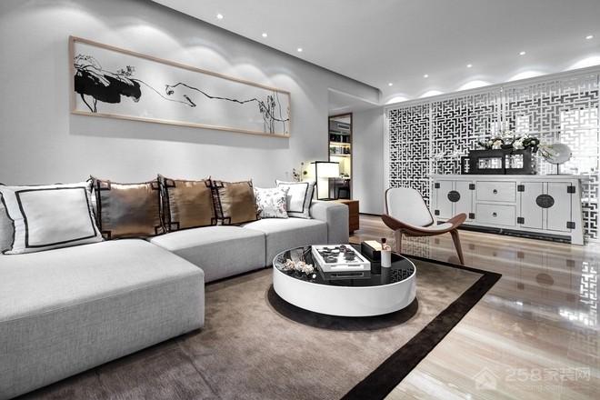 中式客厅圆形茶几设计效果图