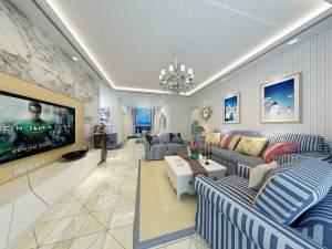 美丽沙蓝色海岸地中海风格三居装修效果图