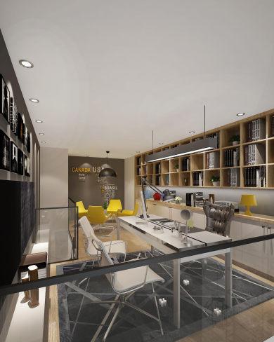 办公空间现代简约风格三居装修效果图