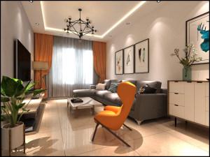 富康苑新区北欧风格二居家装效果图