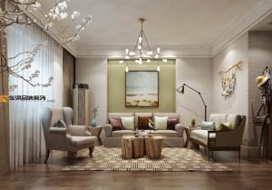 蓝天玫瑰园中式风格别墅装修效果图