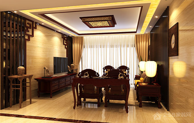 碧湖湾中式风格复式家装效果图