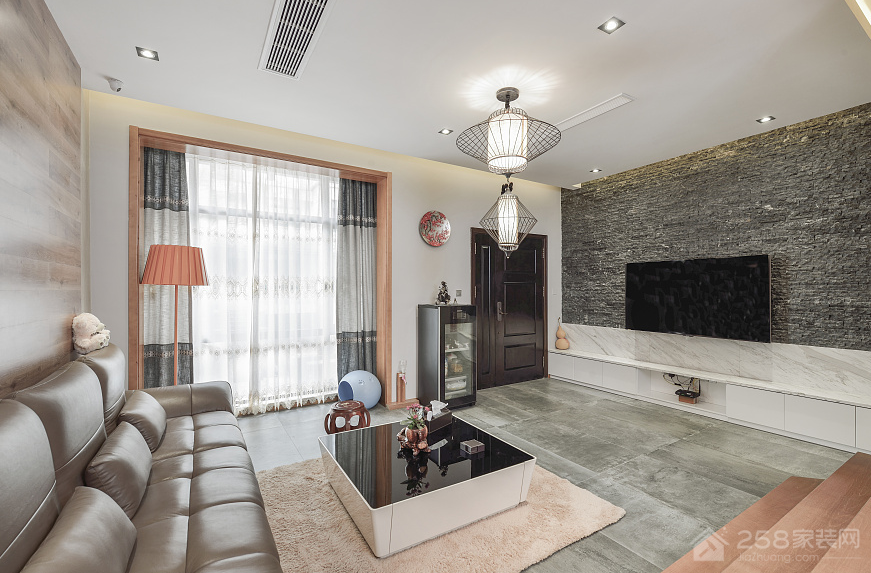 金地国际城110㎡现代简约风格二居装修效果图