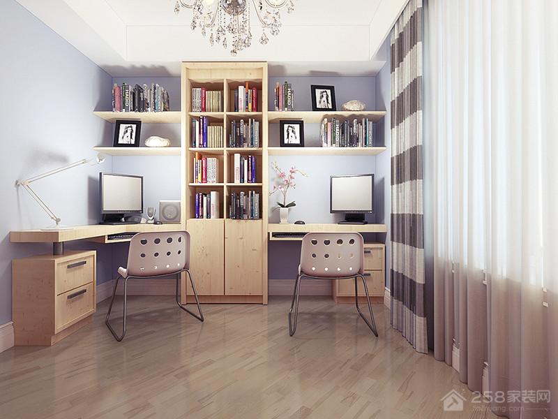 书房简约原木色转角书桌效果图