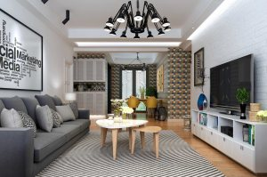 紫薇花园现代简约风格三居家装效果图