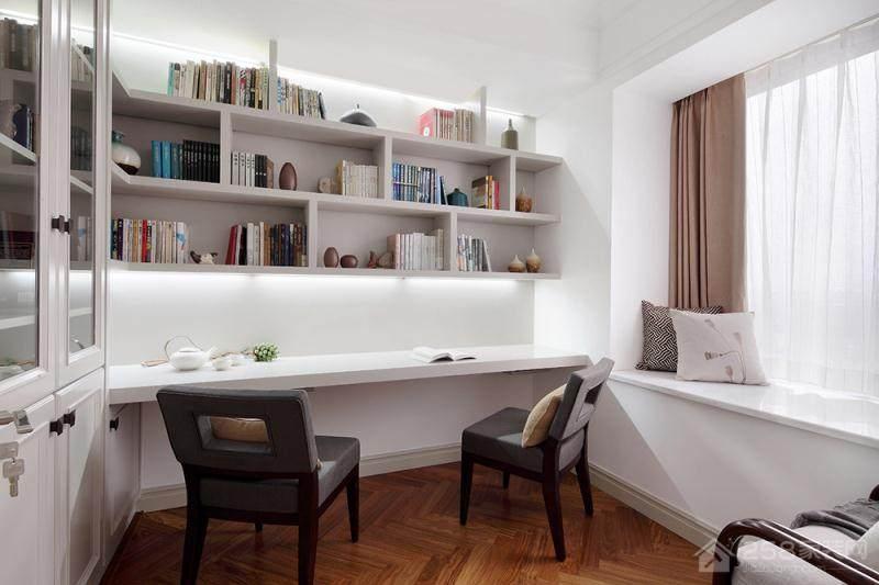 书房纯白简约书桌书柜组合设计图