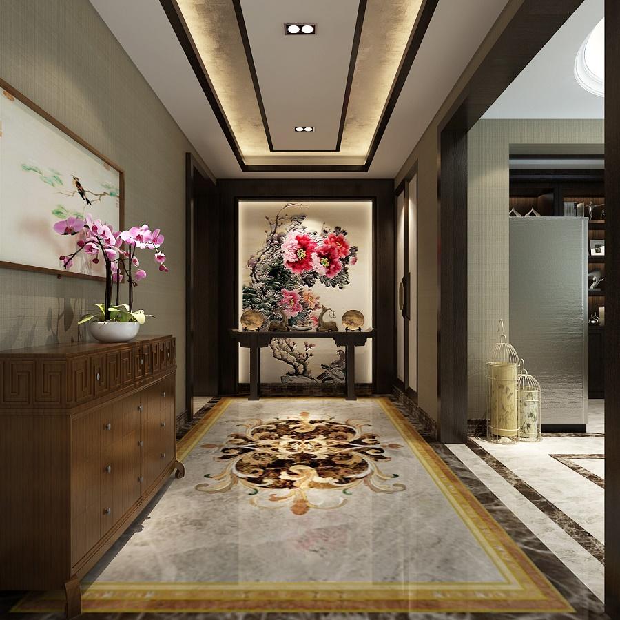 中海小区中式风格四居装修效果图