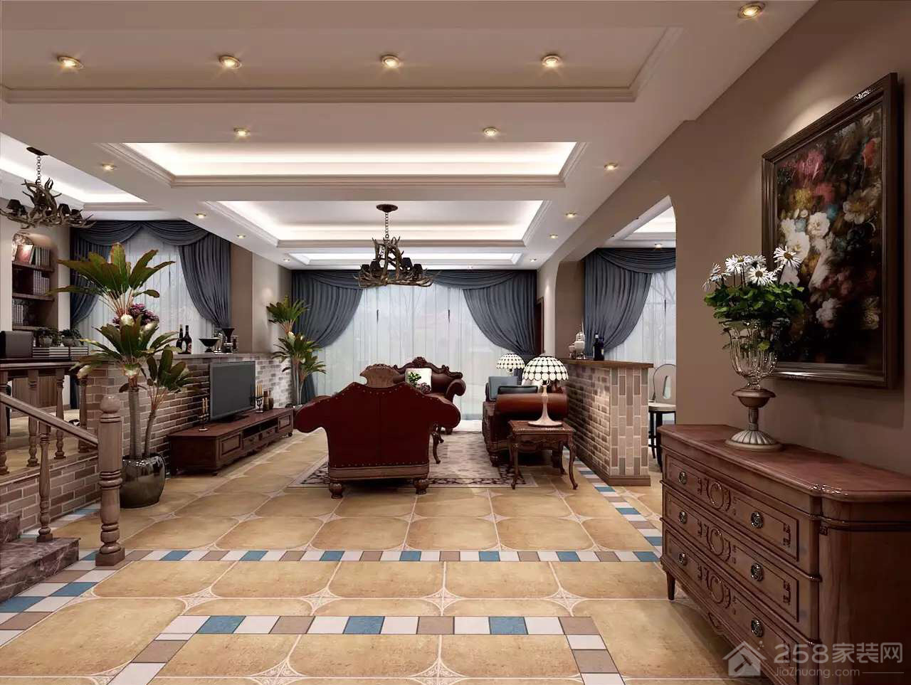 印象康城美式风格三居家装效果图