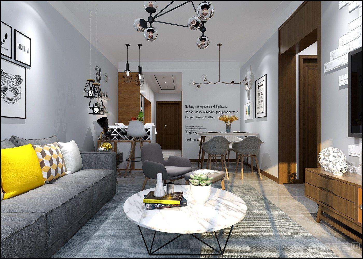 九州城北欧风格二居家装效果图